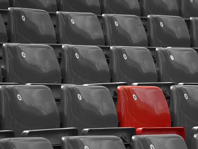 Red seat at 'Old Trafford'