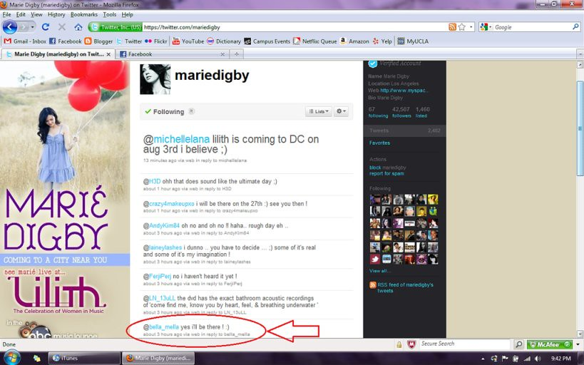 Marie Digby twittered at me!