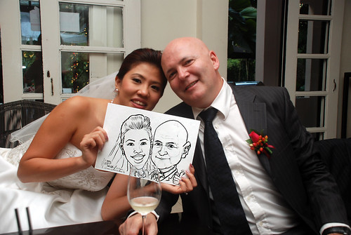 caricature live sketching for David & Christine wedding dinner - 4