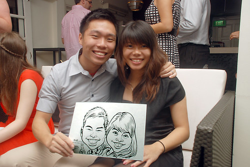 caricature live sketching for David & Christine wedding dinner - 15