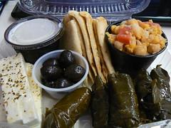 greek appetizer (gumbyliberation) Tags: food cheese dinner greek yummy olives grapeleaves hummus feta pita greekfood chickpeas tzatziki dolmades fetacheese