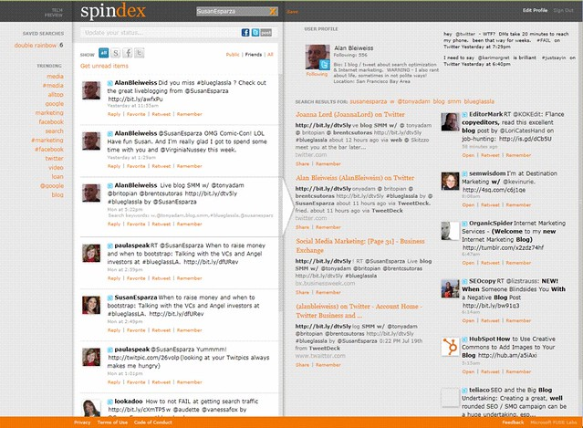 Twitter on Spindex