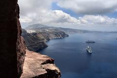 Conquering the Skaros rock (ville_v) Tags: sea sky clouds hellas santorini greece cyclades thira fira thera imerovigli firostefani skaros