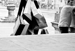 ... and very soon it turned into a nightmare. (mfellnerphoto) Tags: woman man monument shopping munich mnchen deutschland gucci mann bags frau taschen feldherrnhalle einkaufen