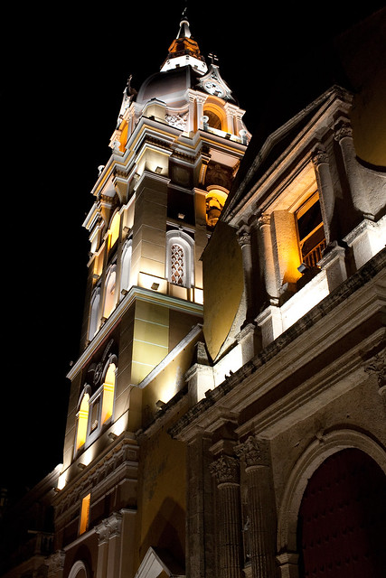 The Cathedral of Cartagena is a highlight at night for taking photos, but don't pay for the outrageously priced $5 USD tour. There is not much to see on the inside, and better photos can be taken from the outside for FREE! Besides, is it right for churches to charge that kind of money, as it's a religious place of worship?
