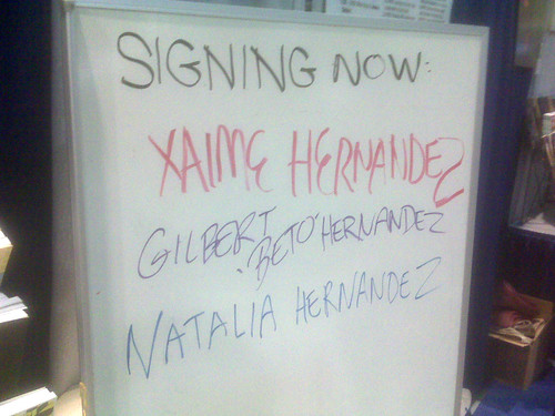 The Hernandez family signs in at Fantagraphics, Comic-Con 2010