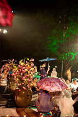 Fashion show in the rain (.kim.e.) Tags: red people rain night canon 50mm lights asia southeastasia glow citadel vietnam lanterns imperial fashionshow runway hue 2010 imperialcity 450d huefestival
