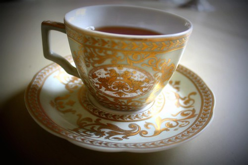 Tea in a china cup.