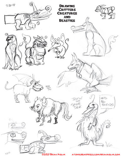 misc sketches from the Critters, Creatures and Beasties class