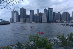 21 Brooklyn Bridge Park kayakers on the water right now. Open until  3pm today!