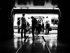 20100726_roppongi_03 (pqw93ct) Tags: bw white black monochrome station japan subway tokyo  roppongi  ricoh      gx200