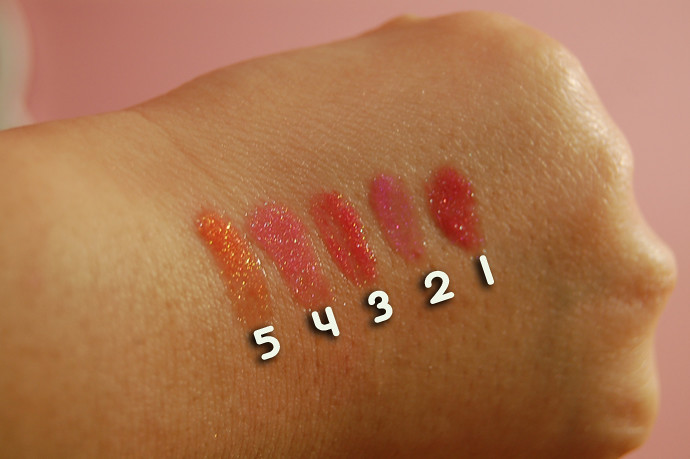 Inglot glosses swatch