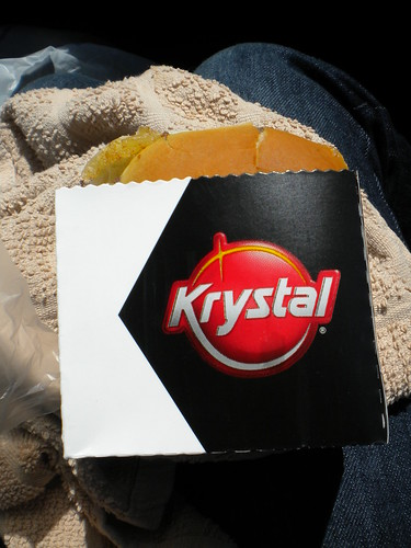 The girl's first Krystal burger