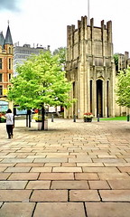 paving by cathedral (Harry Halibut) Tags: york flowers red woman tree brick green tower stone walking cathedral sheffield images paving allrightsreserved slabs colourbysoftwarelaziness imagesofsheffield 2010andrewpettigrew sheff100730331