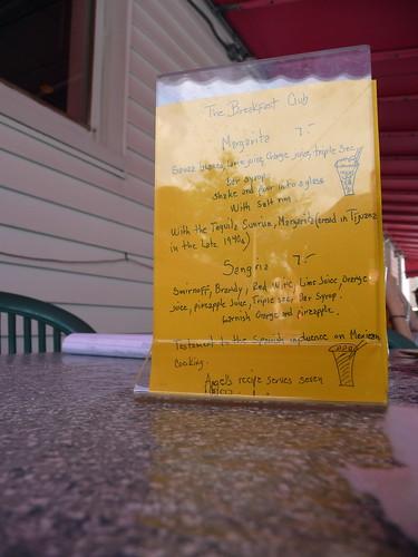 menu at breakfast club