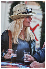 Beer+hat+ciggie+shades (Bob the Binman) Tags: beer girl hat sunglasses female germany deutschland pretty cigarette shades blonde attractive dusseldorf smoker altstadt milf northrhinewestphalia nikond90 rheinfeiern