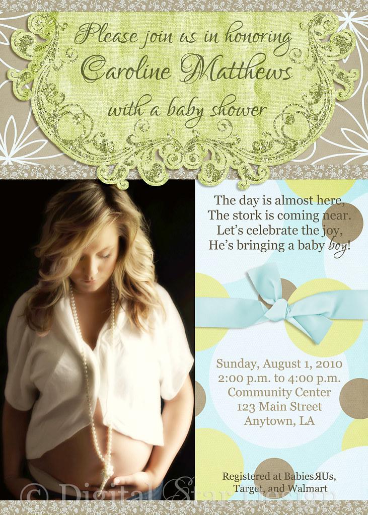 baby shower invitation sample, 6x4
