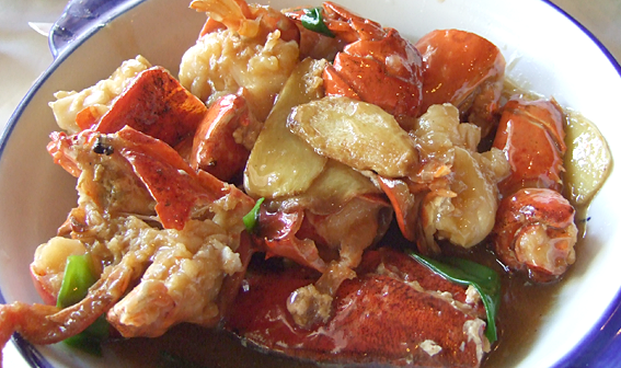 Lobster with ginger and green onions