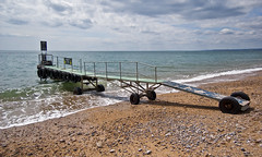 Landing stage on Branscombe beach (Alastair Cummins) Tags: ocean beach water coast nikon stage pebbles landing devon jurrasic branscombe d40