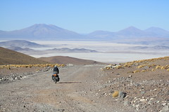 Descending the terrible road on Aucanquilcha (Pikes On Bikes) Tags: chile mountain bike america cycling volcano hiking south cycle andes bici salar touring puna cycletouring americadelsur punadeatacama ripio aucanquilcha pikesonbikes bicitourismo