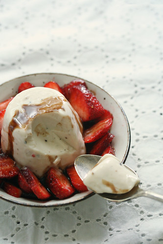 Black Pepper Panna Cotta with Strawberries and Balsamic