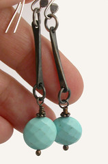 Metal - Forged  'Stix-n-Stones Earrings (Simply_Adorning) Tags: metal stone silver beads handmade jewelry earrings forged