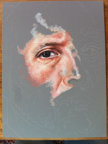 Colored pencil portrait entitled Self Portrait VII