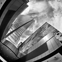 The Gas Company Tower (Mike Chen aka Full Time Taekwondo Dad) Tags: california white black tower mike skyscraper losangeles los downtown angeles sony her gas fisheye company southern chen discover ldr metalman a900 sal16f28