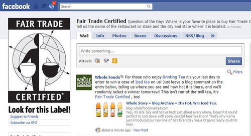 Página de certificación de comercio justo en Facebook