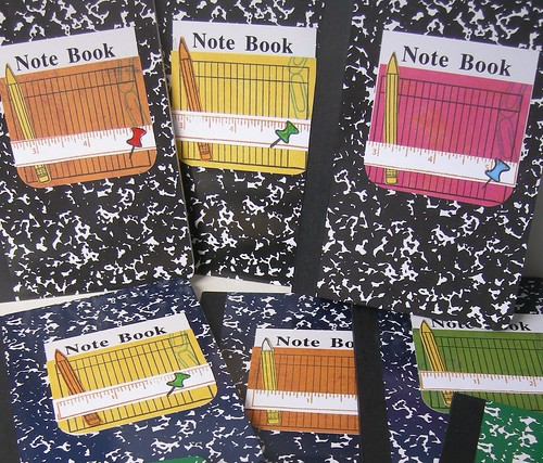 Close-up of note books