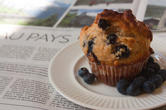 Muffin for breakfast (greenicadesign) Tags: breakfast blueberry muffin