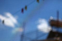 Urban Spaceman (Elios.k) Tags: blue sky cloud house net window solar bokeh line clear heater flare peg washing