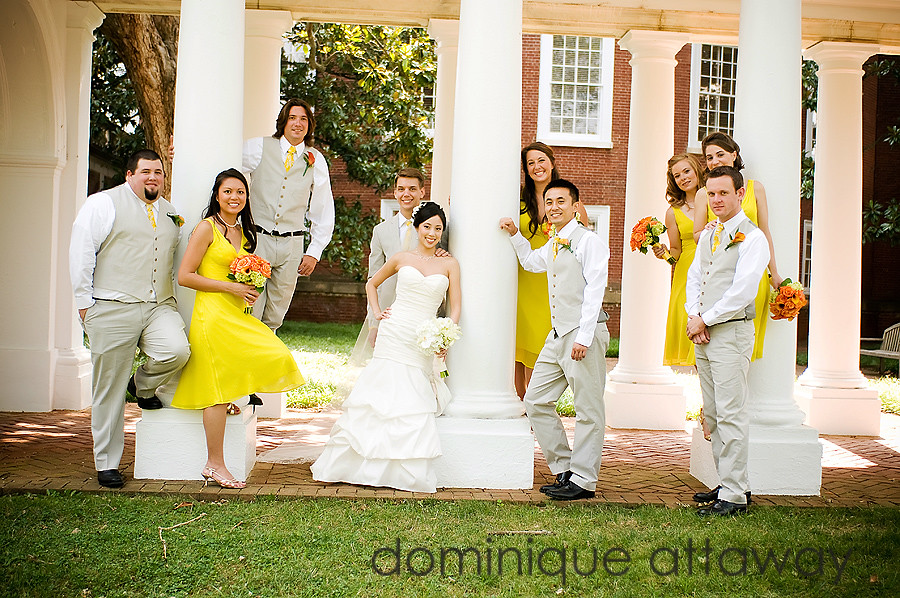 bridal party at UVA Lawn