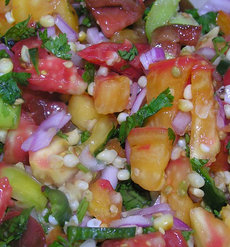 sunset salsa with heirloom tomatoes
