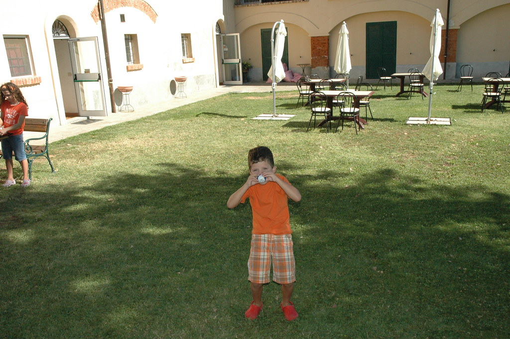 Blaine playing in courtyard