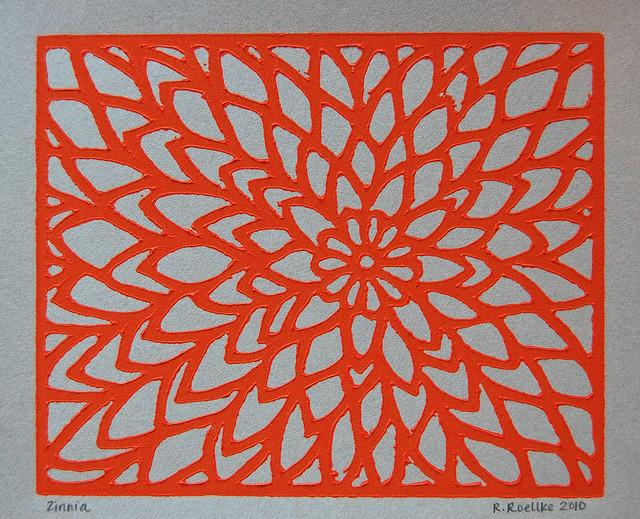 zinnia lino print
