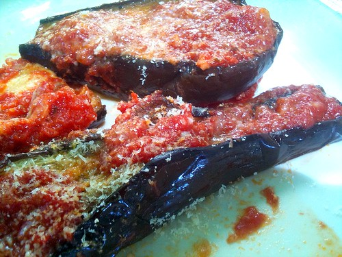 Eggplant Parmigiana or Roasted Eggplant with Tomato Sauce and Grated Parmigiano Reggiano