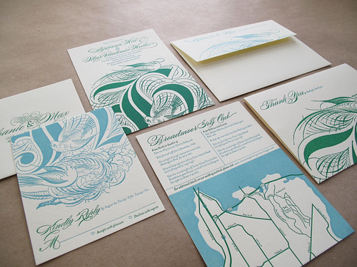 Wedding Invitation Aqua and Emerald Letterpress Posted by And Kathleen