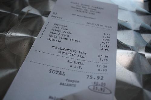 Sushi bill