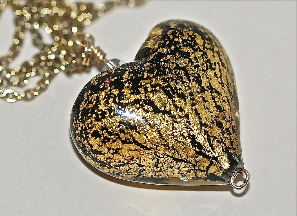 Black Gold Lampwork Heart Necklace
