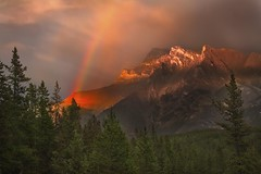 Rainbow Sky (Anne Strickland) Tags: rainbow bravo banff albertacanada banffnationalpark canadianrockies banffalberta mtinglismaldie mountainsandrainbows sunsetandrainbow rainbowovermtinglismaldie rainbowoverrockies