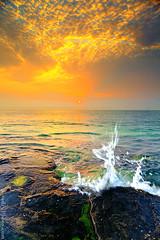 sunrise Splash (A.alFoudry) Tags: pink blue sea orange cliff seascape black seaweed color green water rock stone clouds sunrise canon landscape eos rocks silent slow mark full filter silence lee edge frame shutter land 5d kuwait worm splash fullframe scape ramadan effect ef kuwaiti q8 abdullah عبدالله mark2 1635mm الكويت كويت || kuw q80 q8city xnuzha alfoudry الفودري abdullahalfoudry foudryphotocom mark|| 5d|| canoneos5d|| mk|| canoneos5dmark|| canonef1635mmf28l|| f28l||