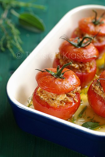 Straight from the oven: mediterranean filled tomatoes
