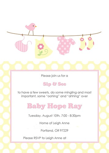 baby clothes pink yellow baby shower invite2