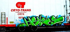 Hense (mightyquinninwky) Tags: railroad green train graffiti sticker 10 tag graf tracks ct railway tags tagged rails msk graff graphiti freight plywood reefer orton 2010 hense fr8 railart spraypaintart cryx freightcar benched  cryotrans coldcar freightart thiscarexcessheight paintedreefer reeferart wwwcryotranscom paintedrailcar taggedreefer taggedrailcar mhwgroup refelctivetape coldfreight trainsformyspacestation