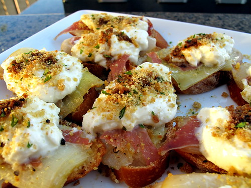 Crostini with Leeks Vinaigrette, Prosciutto, Buratta and Mustard Breadcrumbs