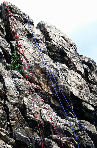 Climbing ropes in blue & red