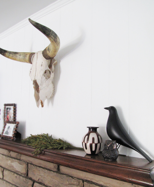 eames house bird+bronze owl+cow skull head+horns+decor+mantel