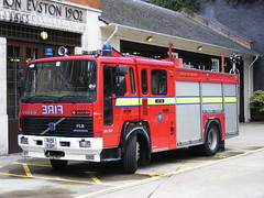London Fire Brigade . DPL1051 R151KGH . Euston Fire Station . 14th-August 2010 (AndrewHA's) Tags: london truck fire volvo fireengine emergency euston 999 bluelights lfb fl6 r151kgh dpl1051