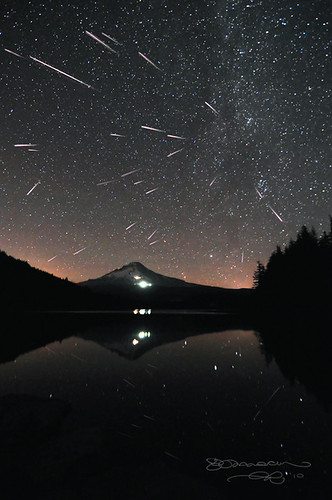 Perseid Meteor Shower over Mount Hood